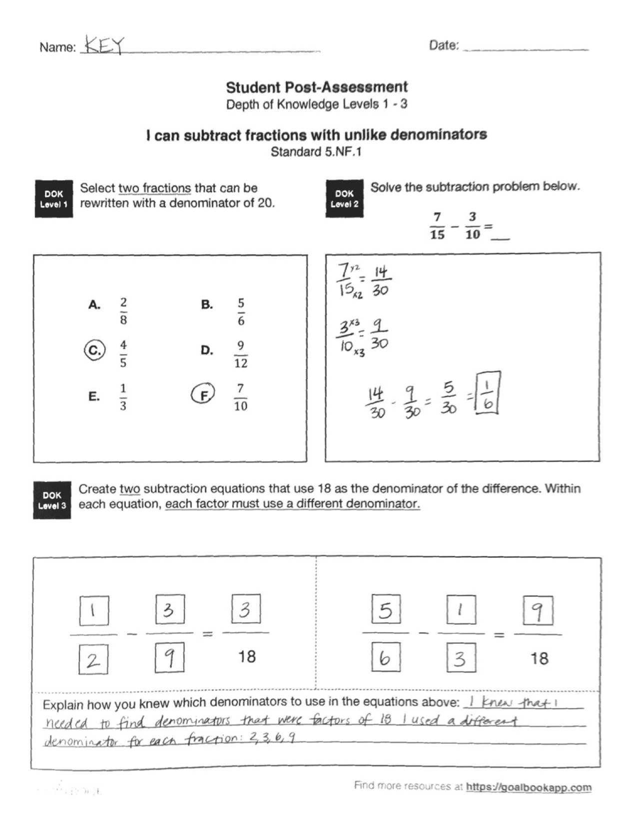 5 Nf 1 Add And Subtract With Unlike Denominators
