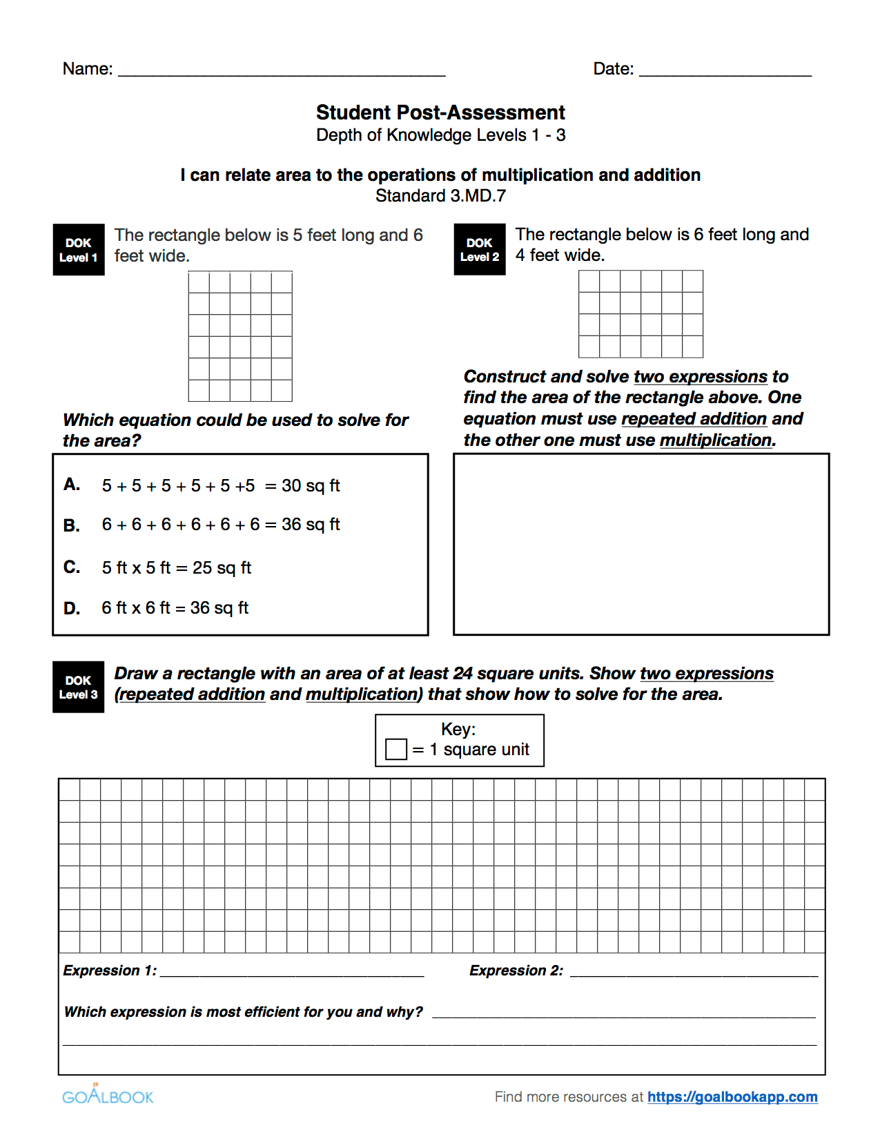 3 Md 7 Area Using Multiplication Amp Addition