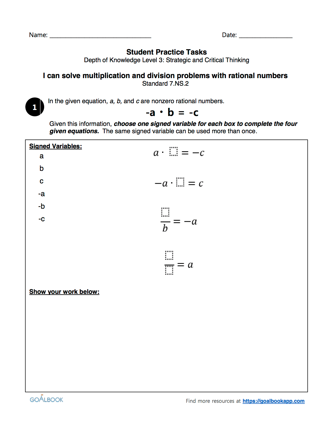 Quick Assessment Solve Multiplication And Division Problems With Rational Numbers