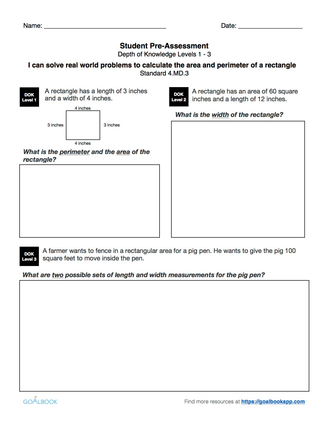 Quick Assessment Area And Perimeter
