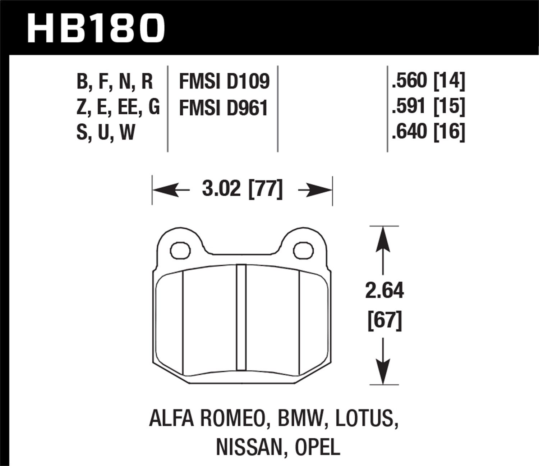 Hawk Performance HB180F.560 HPS Performance Ceramic Brake