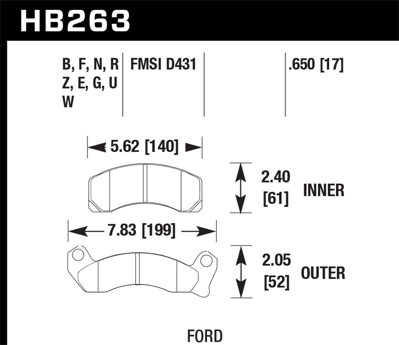 Hawk Performance HB263E.650 Disc Brake Pad, Front