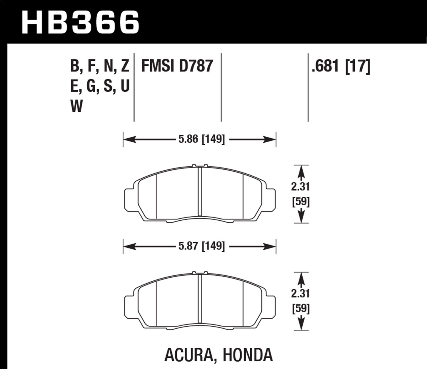 Hawk Performance HB366Z.681 Performance Ceramic Brake Pad