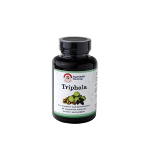 A bottle of Triphala, the Ayurvedic herbal formula. Triphala benefits, triphala side effects, triphala uses, triphala churna.