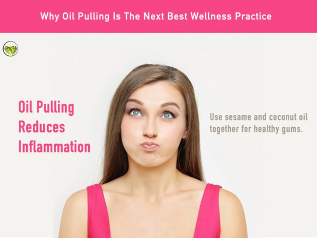 A woman oil pulling demonstrating oil pulling benefits, oil pulling side effects, oil pulling benefits.