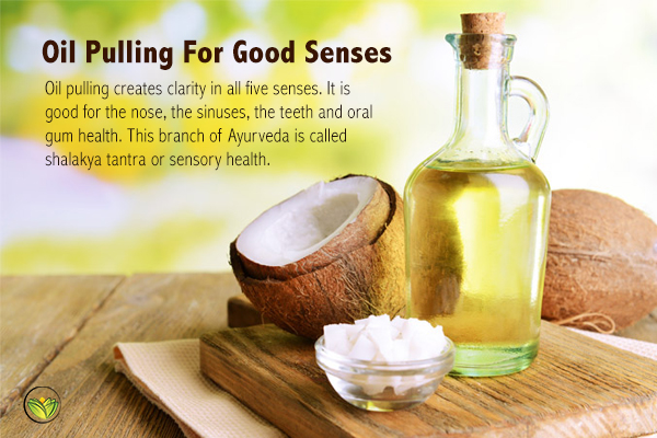 Coconut oil and oil bottle, oil pulling. Oil pulling benefits, oil pulling side effects.