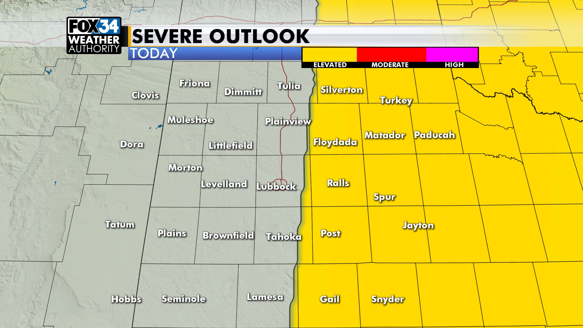 Severe Weather Likely East Of Lubbock This Afternoon