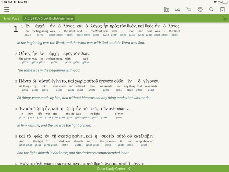 Image of the interlinear Bible app by Olive Tree Bible Software