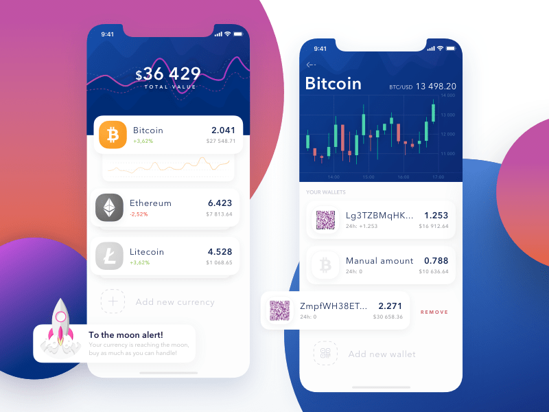 Cryptocurrency app design
