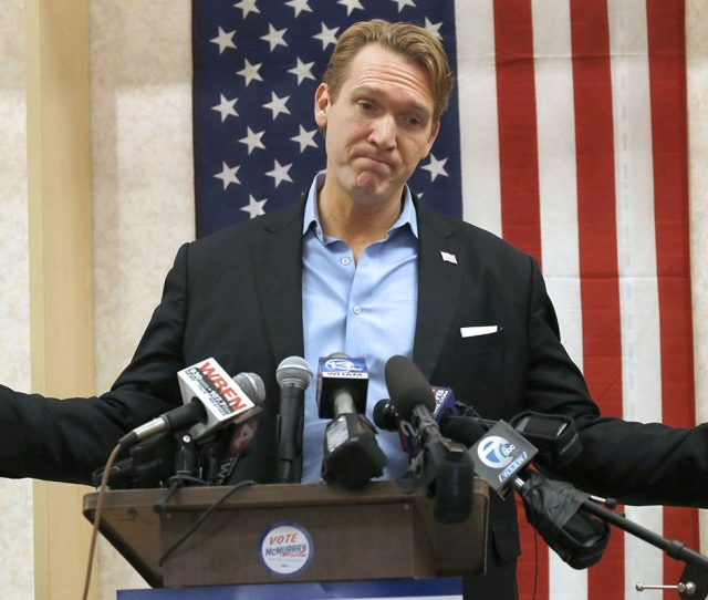Congressional Candidate Nate Mcmurray Displays His Frustration During His Speech At His Campaign Headquarters At Town