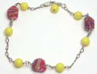 Red Nugget Lamp Work, Yellow Glass & Sterling Chain Anklet ...