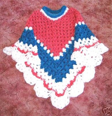 New Crochet Crocheted Coming Home Patriotic Poncho