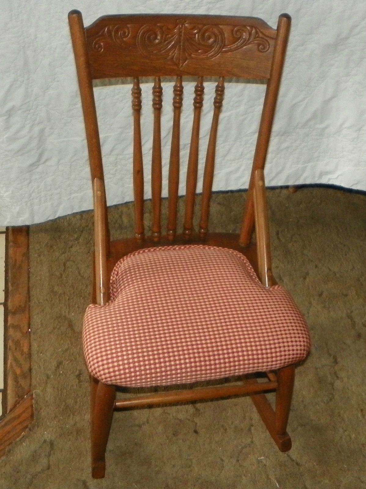 Sewing Chairs Oak Carved Sewing Rocker Rocking Chair R162 Post 1950