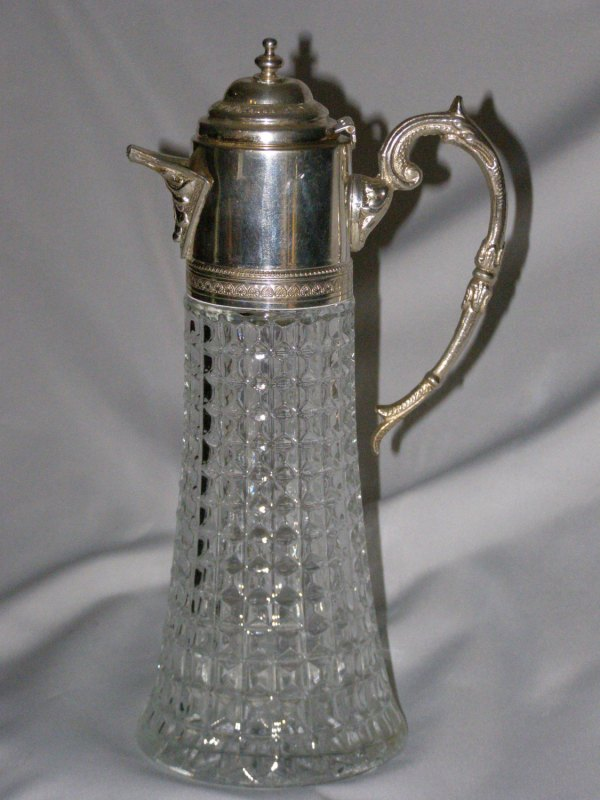 Beautiful Pressed Glass Pitcher With Silver Plate Top