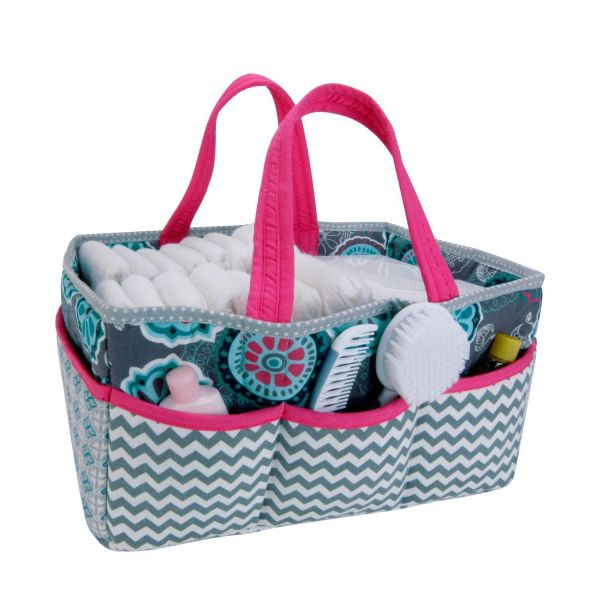 Baby Storage Caddy Gray Pink Nursery Diaper Coupon Organizer Holder Bag Portable