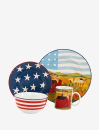 Beautiful Americana Patriotic 16 Piece Ceramic China