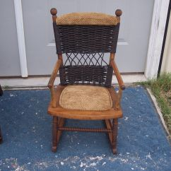 Childs Rattan Chair Ejection Seat Office Child 39s Maple And Wicker Rocker Rocking R134 Post 1950