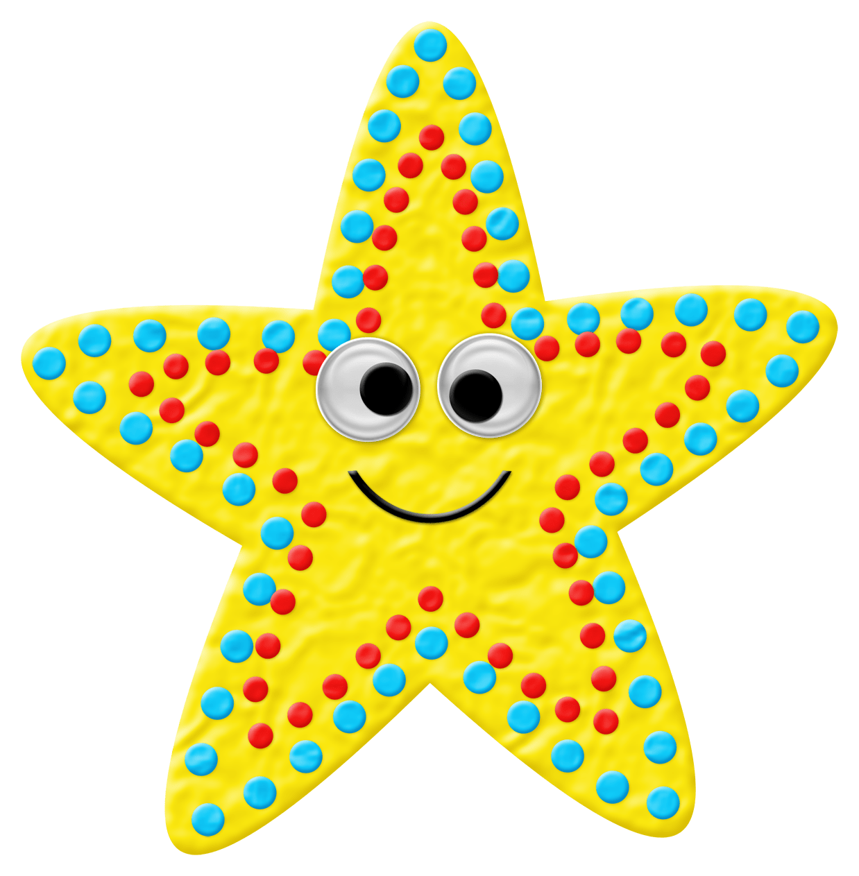 Clay Happy Yellow Starfish Collage Digital Download