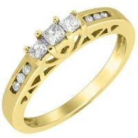 1/4 CARAT WOMENS 3-STONE PAST PRESENT FUTURE DIAMOND ...