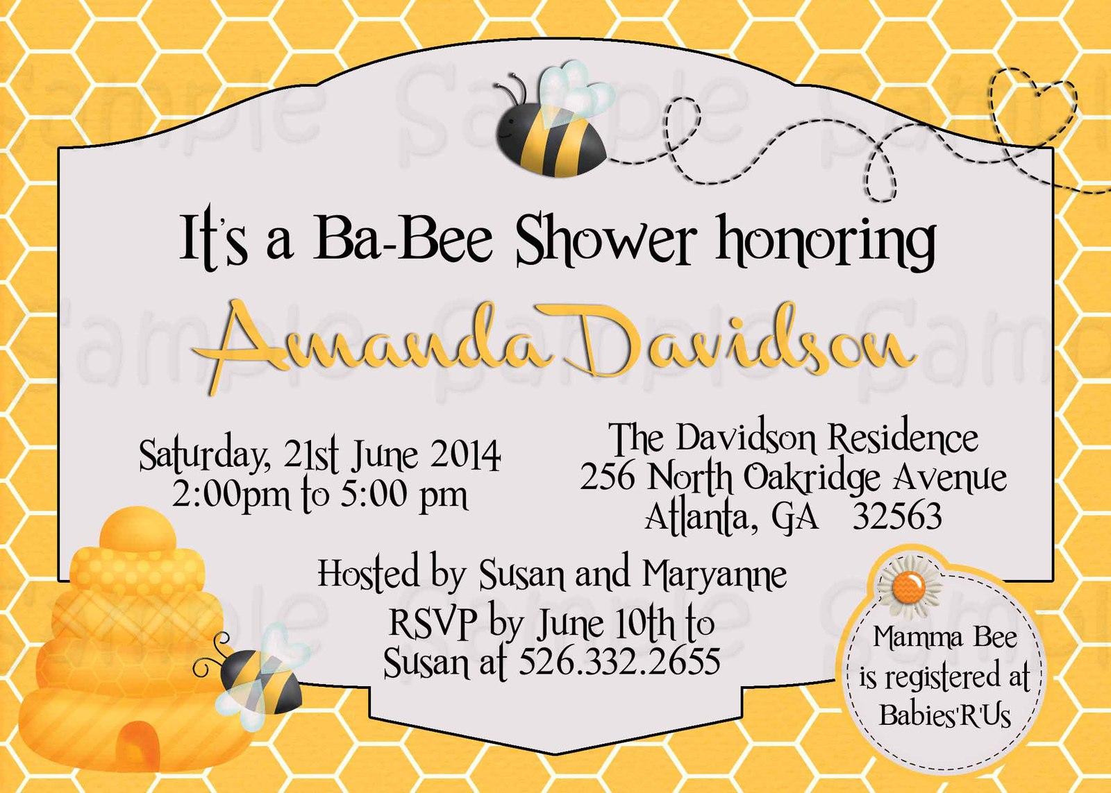 Custom Bumble Bee Baby Shower Invitation Printable