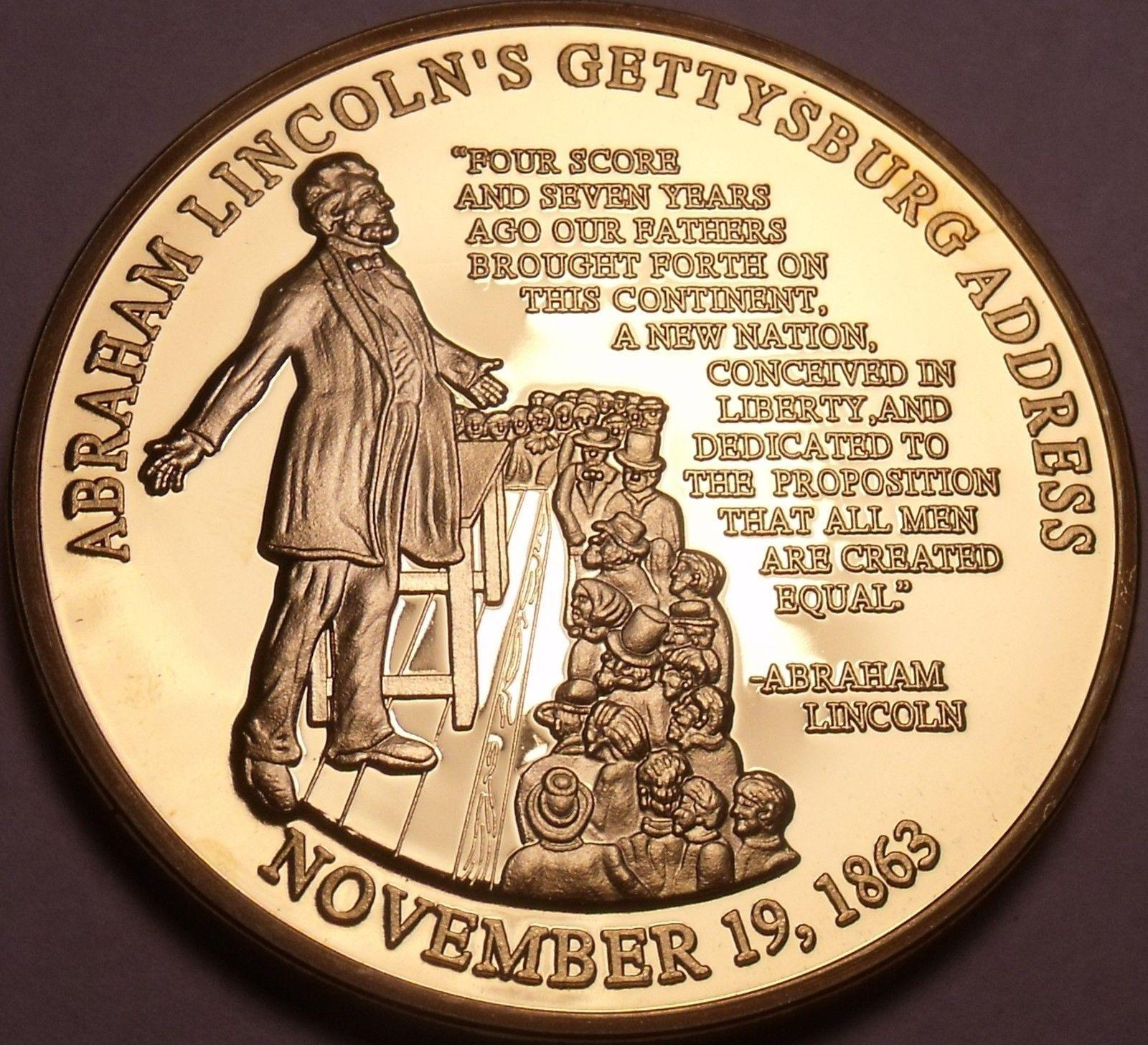 Huge Abraham Lincoln Gettysburg Address Solid Bronze Proof