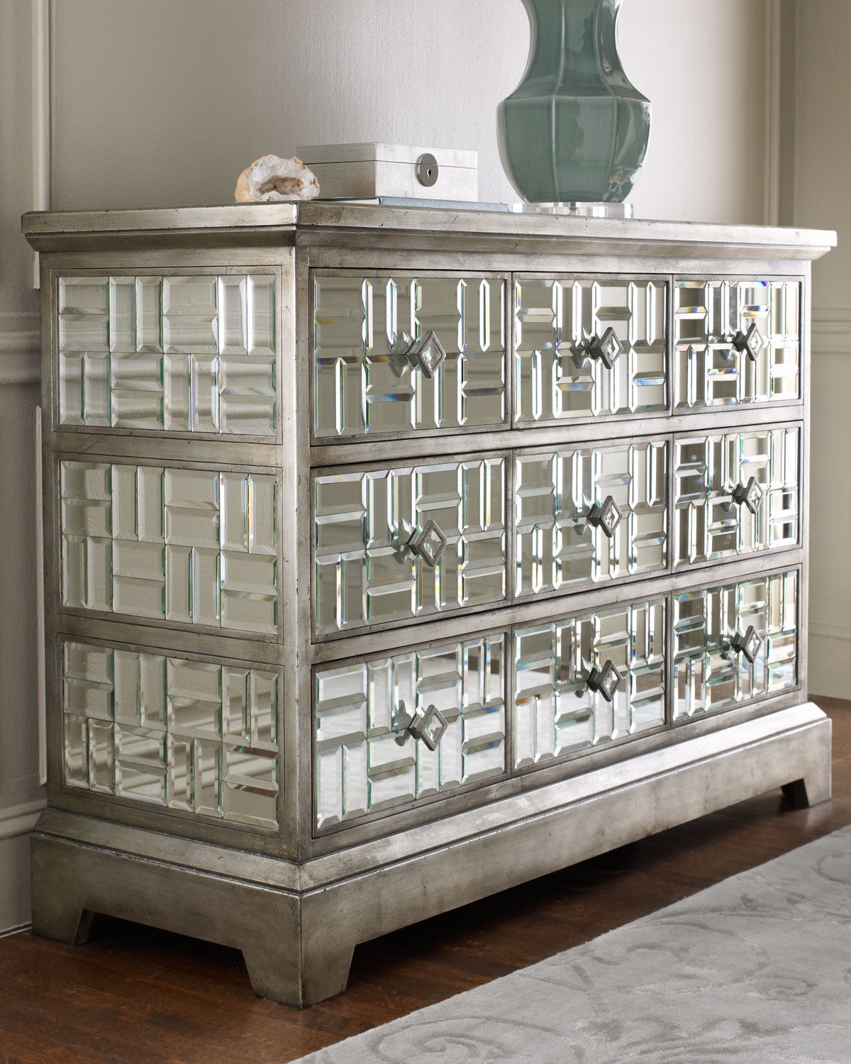 GATSBY BEVELED MIRRORED CHEST 5 Drawer HOLLYWOOD REGENCY Glam HORCHOW 54 W  Dressers