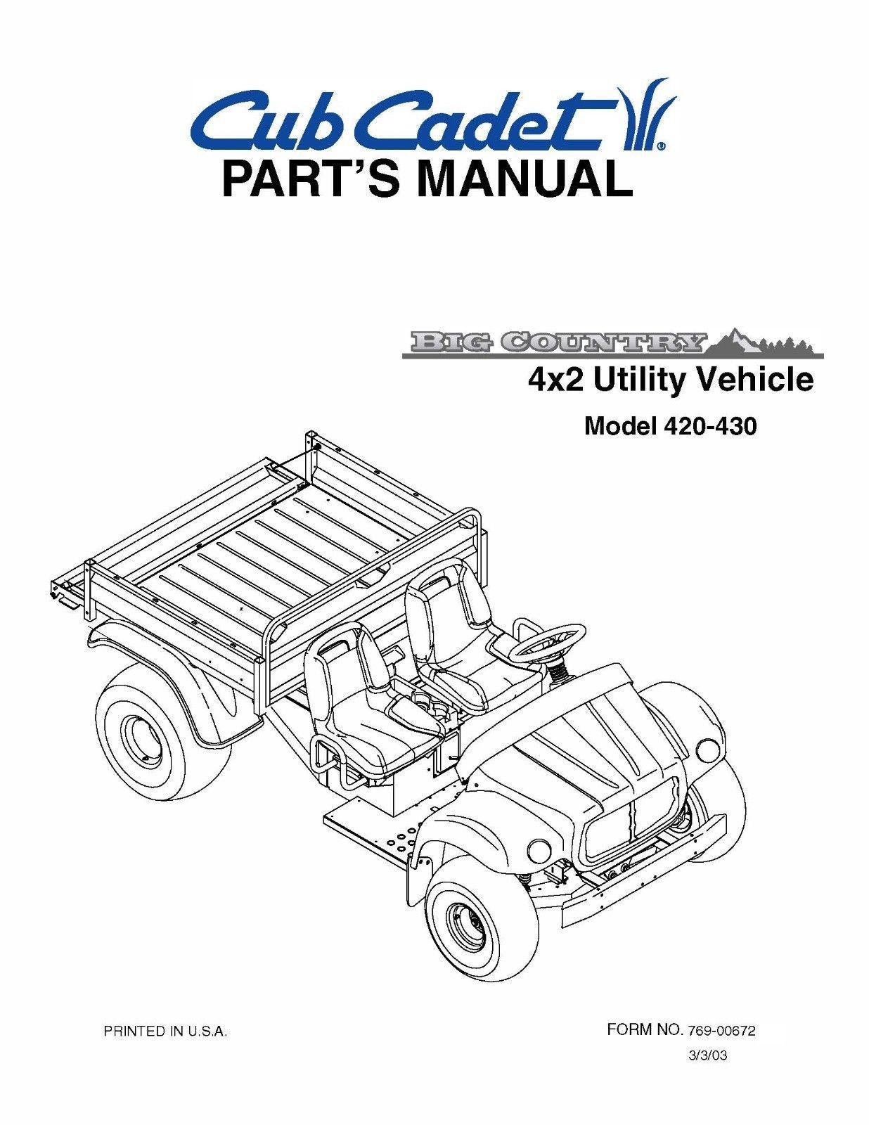 Cub Cadet Big Country 4x2 utility vehicle Parts Manual No