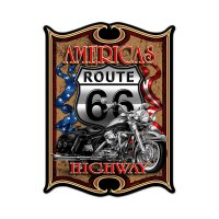 "Americas Highway Route 66 Motorcycle 19""x14"" Metal Sign ..."