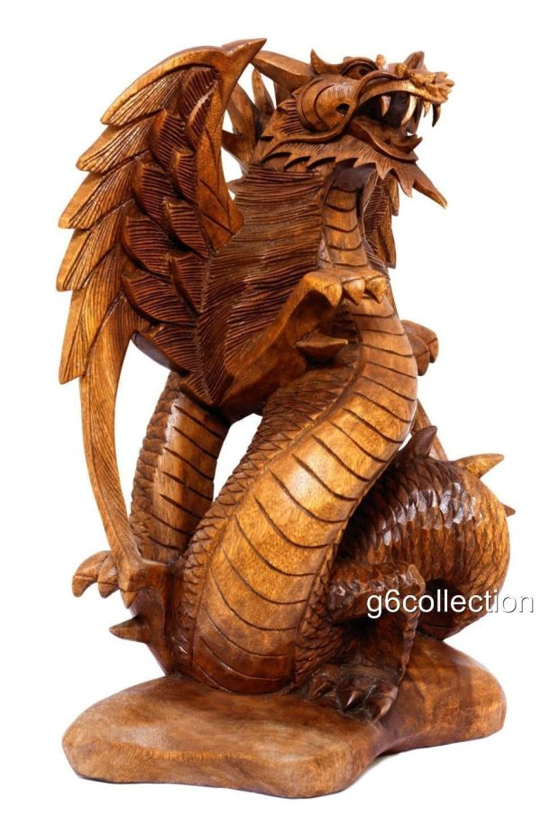 """17"""" Large Wood """" Guardian Dragon"""" Bali Statue Hand Carved Figurine Home Decor - Sculpture"""