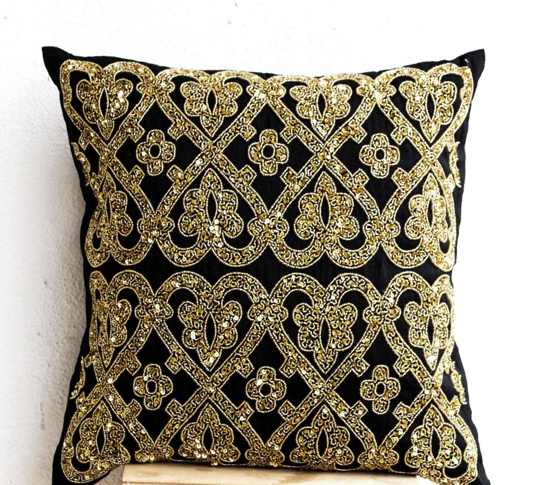 Decorative Throw Pillow Cover Black Gold Sequin Pillows