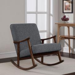Retro Rocking Chair Folding Quad With Canopy Granite Grey Fabric Wooden Rocker Modern