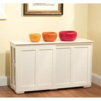 White Kitchen Storage Cabinet Stackable Sliding Door Wood ...