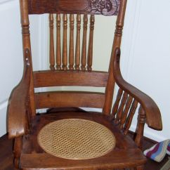Cane Back Chairs Antique Tablecloths And Chair Covers For Sale Rocking Oak Press W Spindles Seat