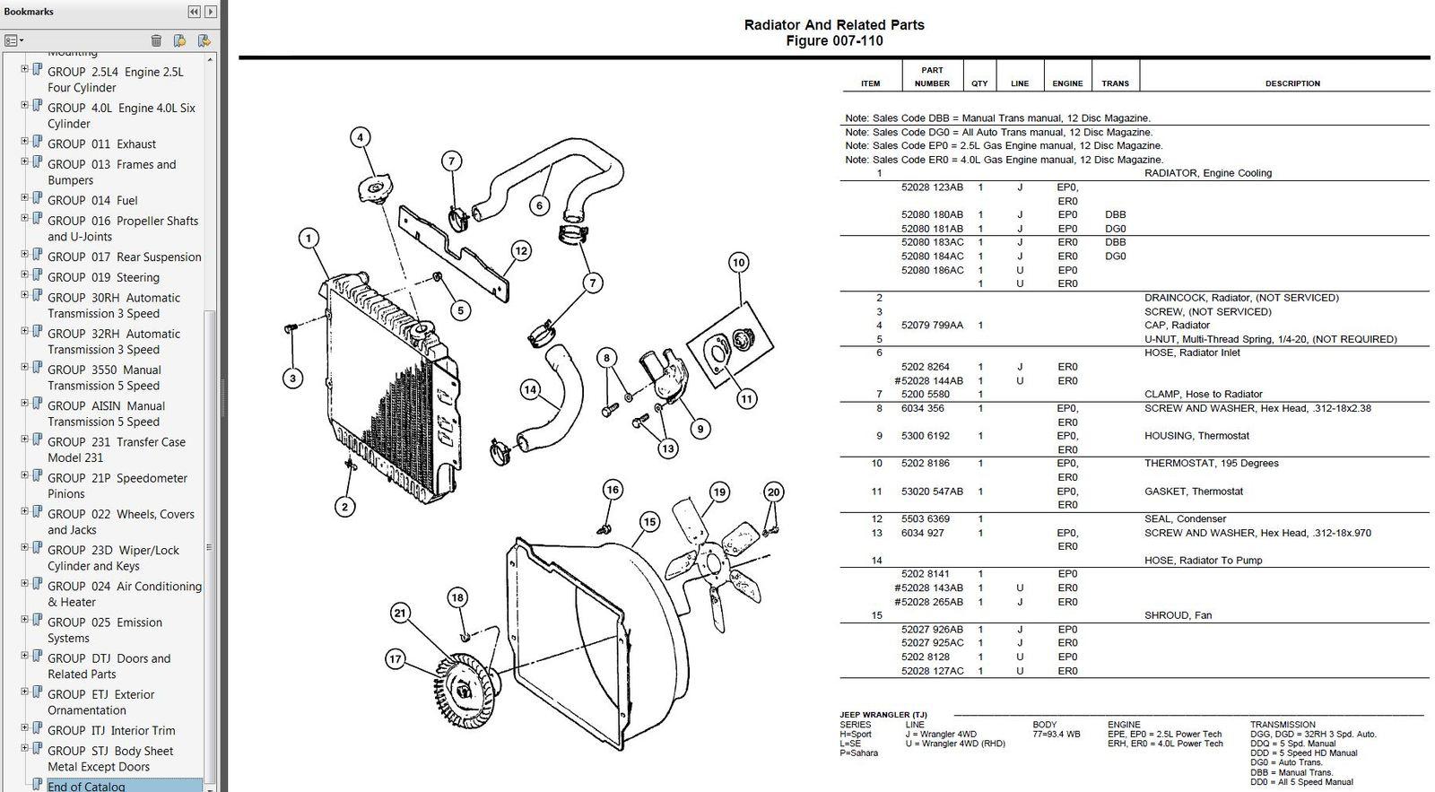 1997 1998 1999 Jeep Wrangler TJ Factory Parts Catalog