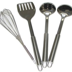 Kitchen Utensil Set Island With Cooktop 4 Piece Stainless Steel Cooking Utensils