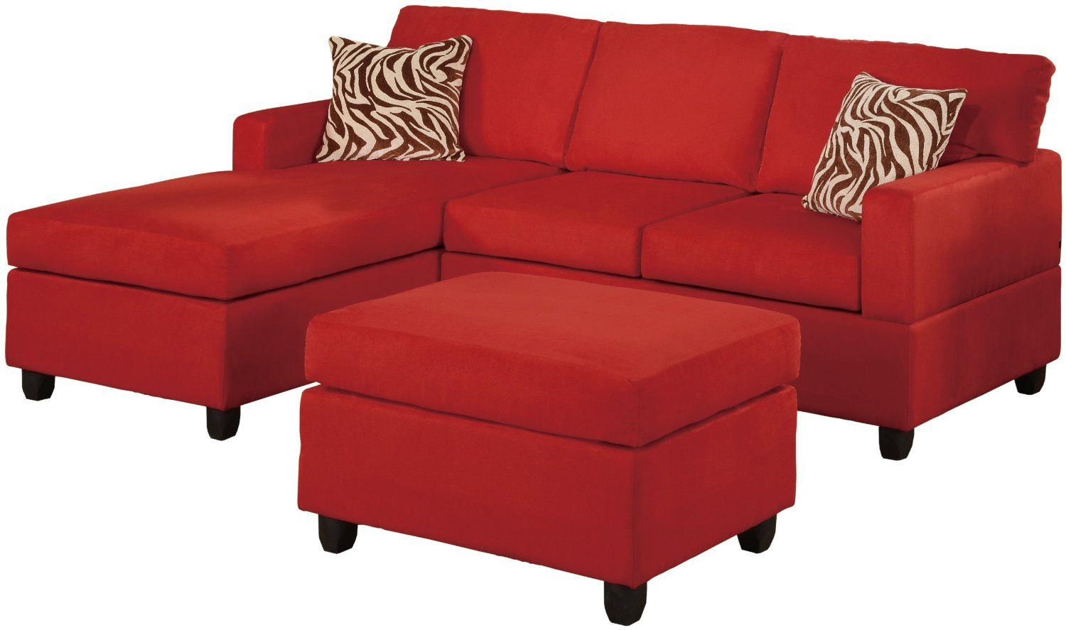 3 piece microfiber sectional sofa with chaise sofas unlimited warehouse outlet set red reversible