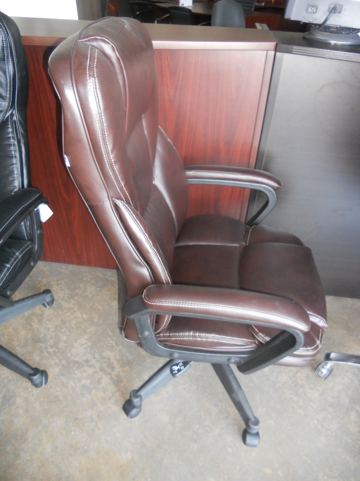 realspace fosner high back bonded leather chair making morris cushions cabernet