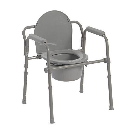 Bedside Commode Folding Toilet Chair Seat Medical Steel