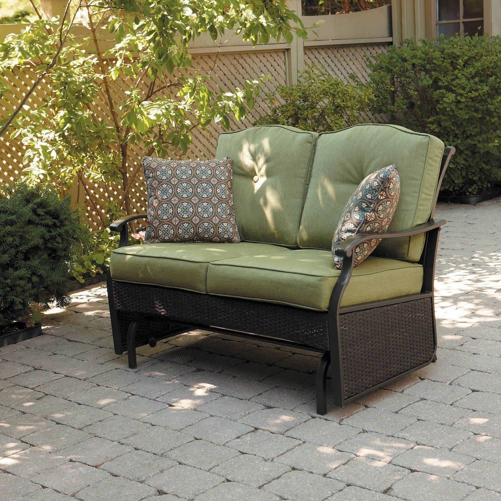Glider Patio Chairs Green Glider Patio Bench Cushion Wicker Seat Home