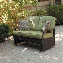 Green Glider Patio Bench Cushion Wicker Seat Home