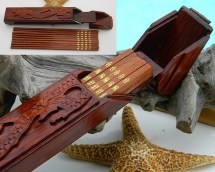 Chopsticks Set 5 Pairs Hand Carved Dragon Box Case Wood