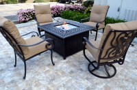 Conversation patio set Propane fire pit table outdoor cast ...