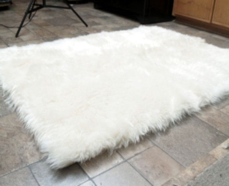 Faux Fur Area Rug White Large