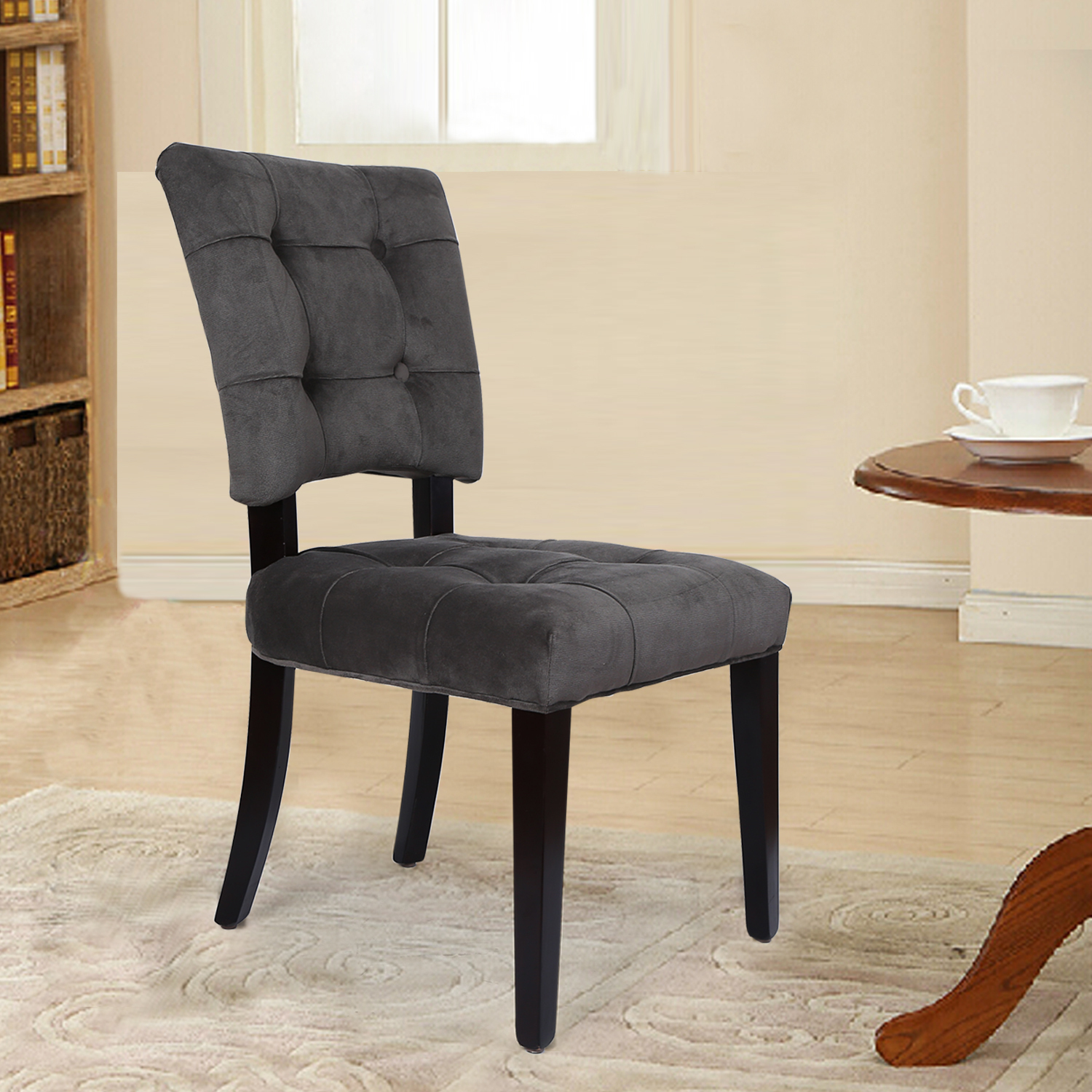 Grey Velvet Dining Chairs Adeco Side Dining Velvet Dining Chair With Solid Wood