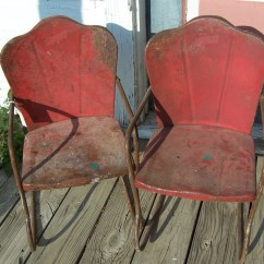 Kids Metal Chairs Kitten Wheelchair Pair Of Vintage Childrens Yard Rocker 1940s
