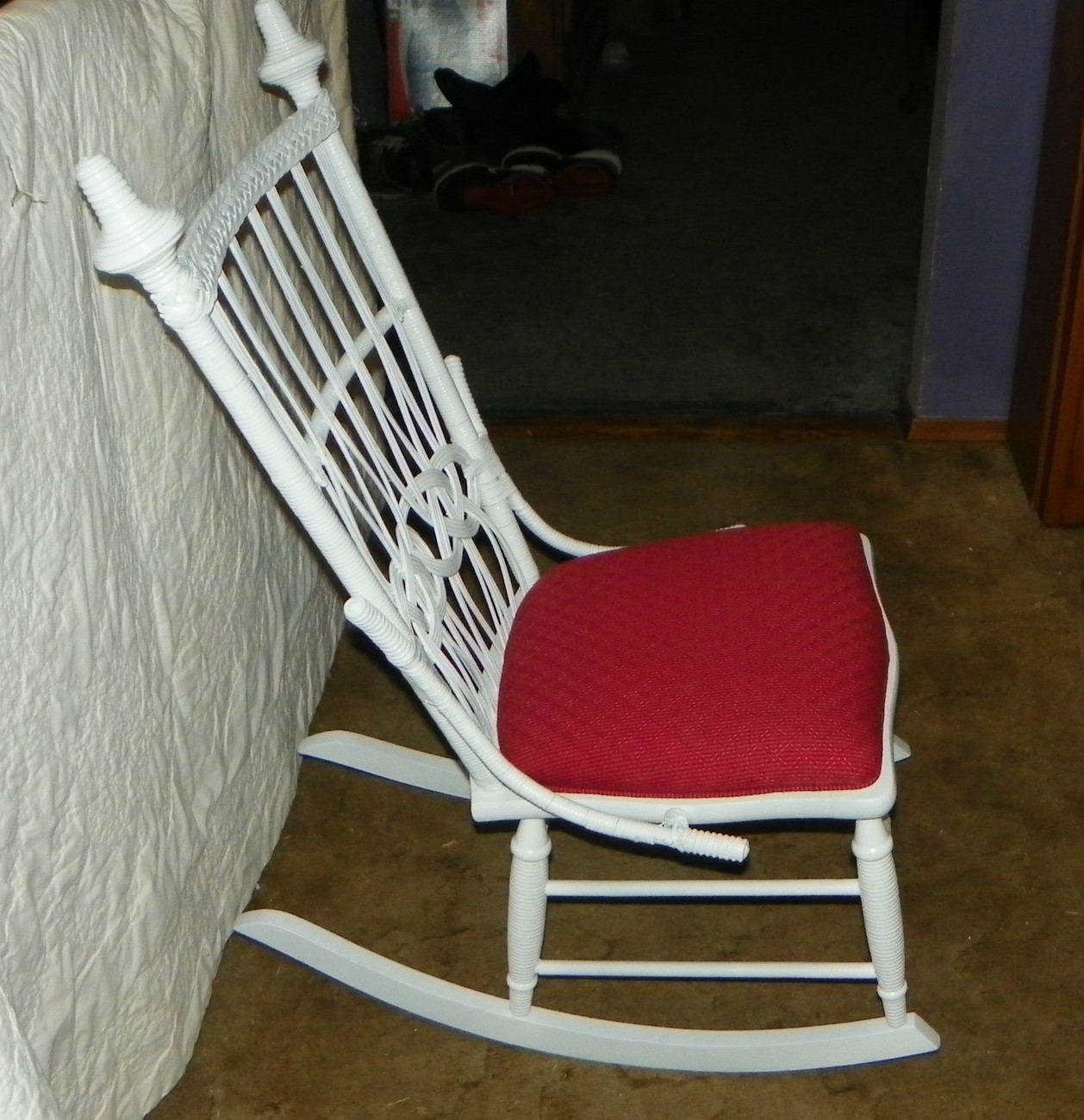 White Wicker Rocking Chair White Wicker Rocker Rocking Chair R153 Post 1950