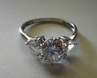 Cubic Zirconia Rings 14k Gold Diamonique 3 Stone Ring