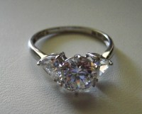 Cubic Zirconia Rings 14k Gold Diamonique 3 Stone Ring - Other