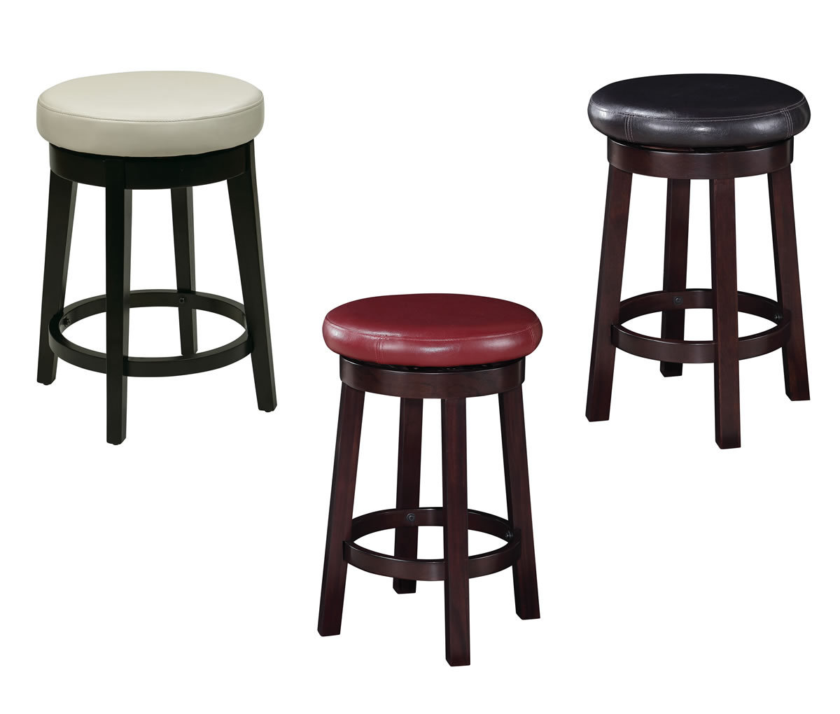 Bar Stool Chair 24 Inch High Seat Round Barstool Faux Leather Wood Stool