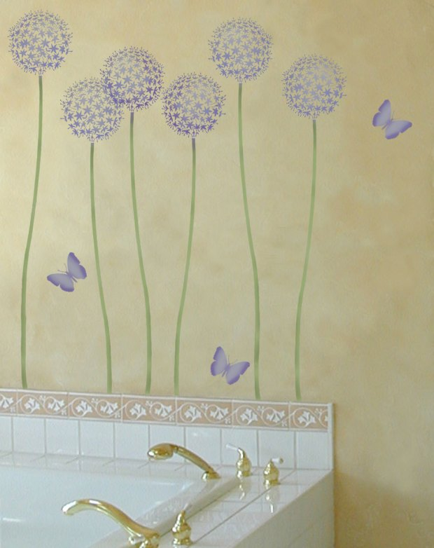 Flower Wall Stencils For Painting Home Design Ideas
